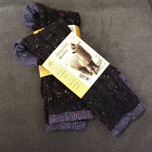 Tey Art Melange Cable Alpaca Socks- Black