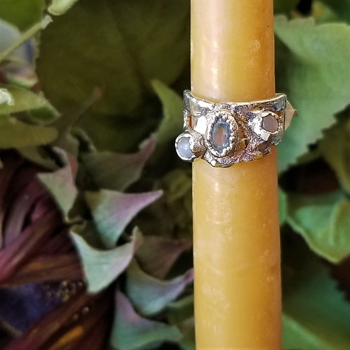 C&R Designs Moonstone and Topaz Fine Silver Ring size 7