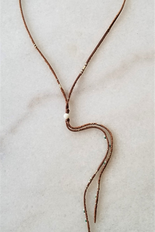 ChanLuu Leather Beaded Necklace
