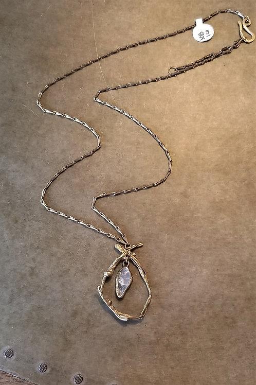 Emilie Shapiro Rose Quartz Brass Necklace