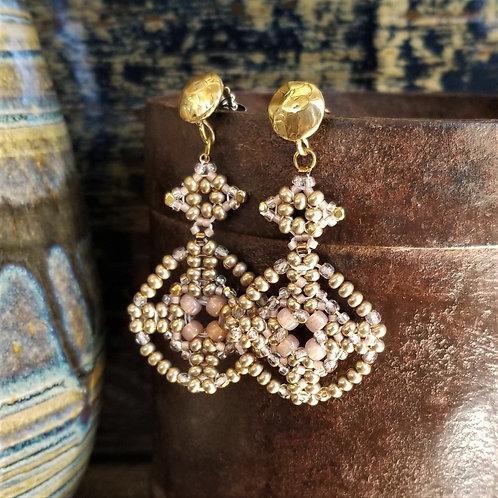 Joy of Wings Pink & Gold Beaded Earrings