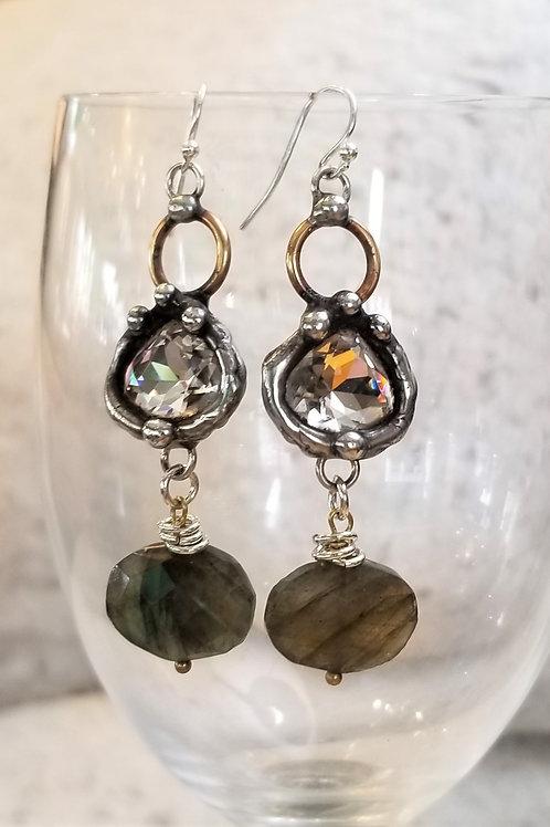 Mikal Winn Swarovski Crystal & Labradorite Earrings