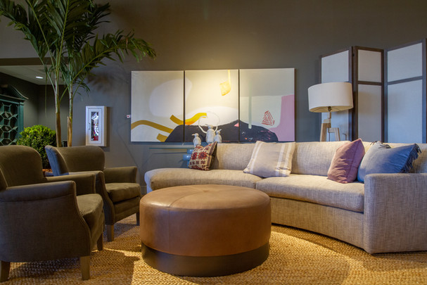 LEE Industries Curved Sofa, Chairs, and Leather Ottoman