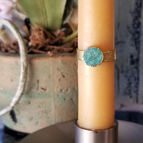 C & R Designs Drusy Gold Plated Ring