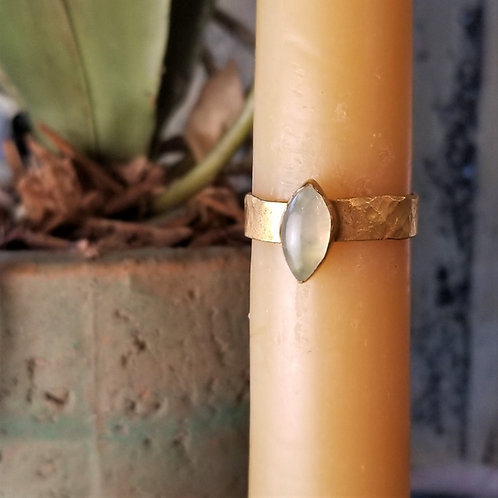 C & R Designs Prehnite Gold Plated Ring