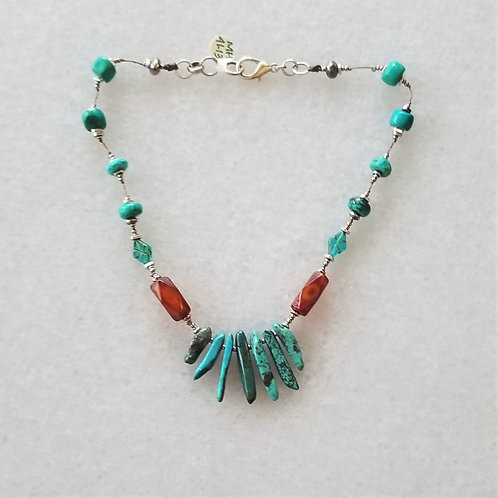 Joy of Wings Turquoise and Carnelian Necklace