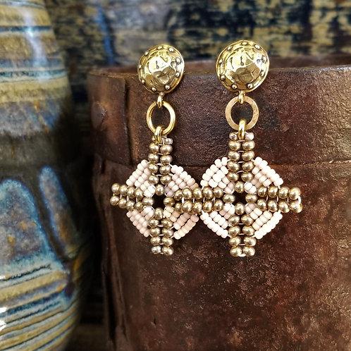 Joy of Wings Pale Pink & Gold Beaded Post Earrings
