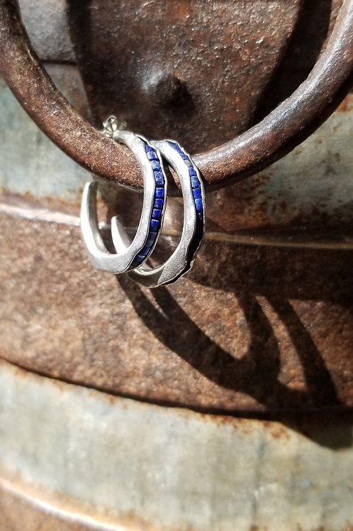 Austin Titus Studio Small Lapis Hoop Earrings