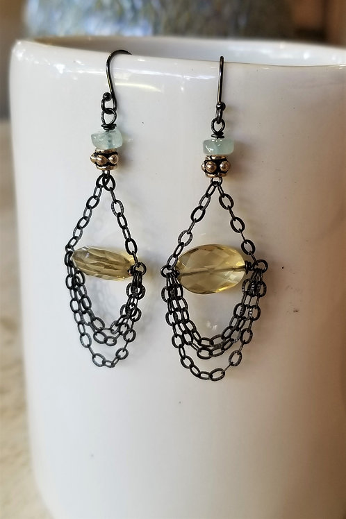 Luna Mar Oxidized Chain and Citrine Earrings