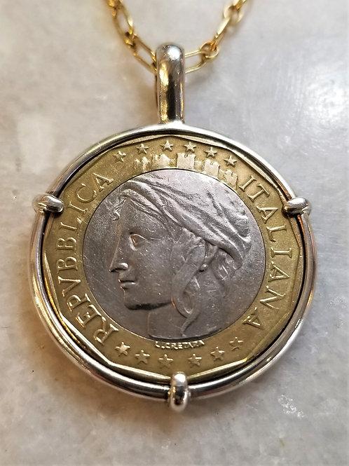 Karen Wright Italy 1000 Lire Necklace