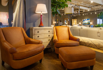 LEE Industries Leather Chairs and Ottoman