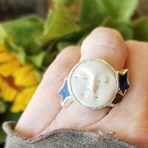 C&R Designs Bone Moon, Lapis and Tourmaline Fine Silver Ring size 8