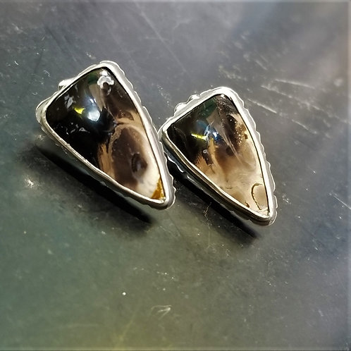 Feral Blue Fossilized Palm Root Stud Earrings