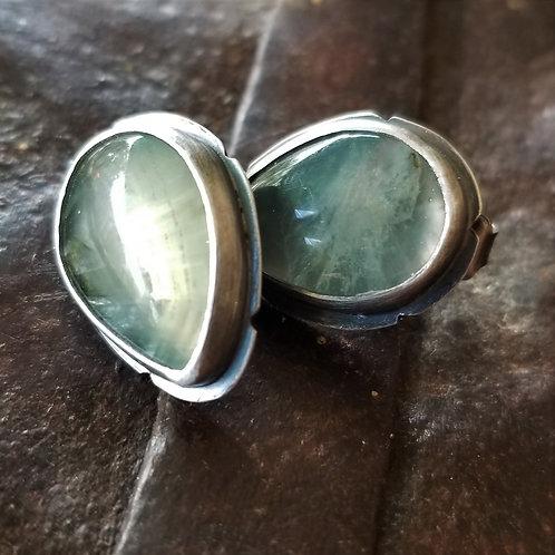Feral Blue Prehnite Teardrop Stud Earrings