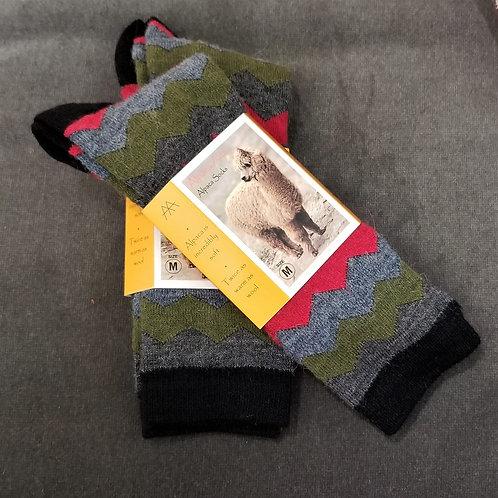 Tey Art Mountain Striped Alpaca Socks- Black