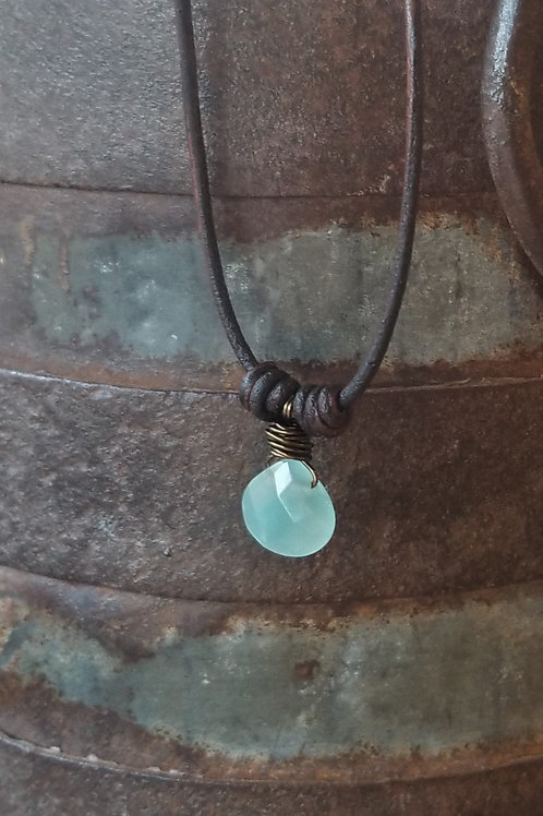The Mermaid's Pearl Chalcedony Leather Necklace