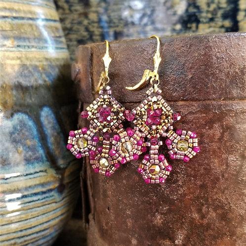 Joy of Wings Gold & Fuchsia Beaded Earrings