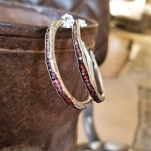 Austin Titus Studio Large Tundra Sapphire Hoop Earrings