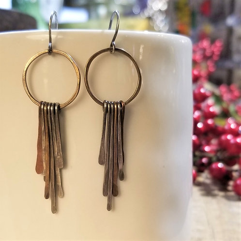 Amy's Accessories Mixed Metal Hoop and Feather Earrings