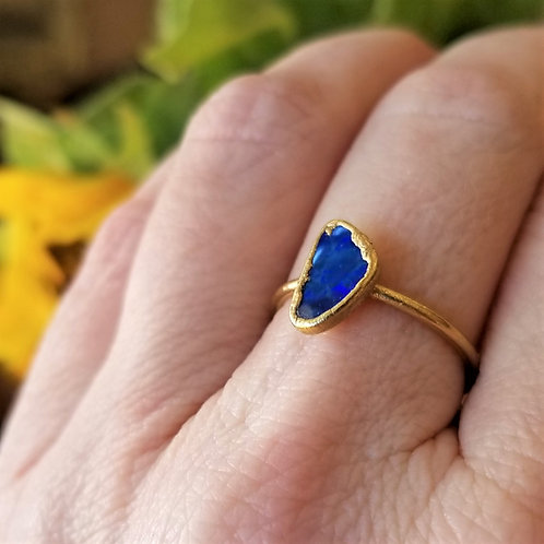 C&R Designs Blue Opal Gold Plated Ring size 9