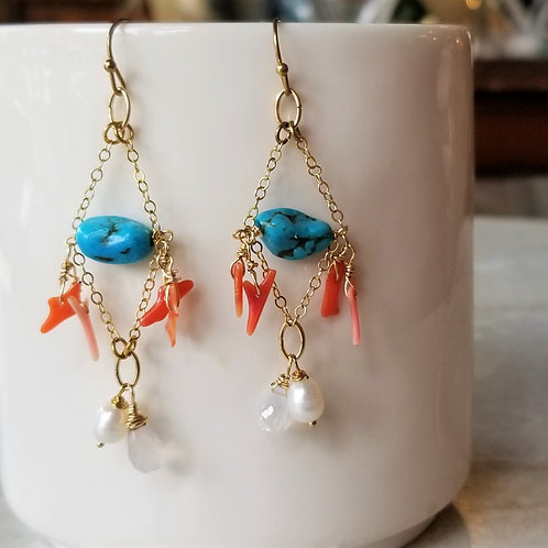 Luna Mar Turquoise & Coral Earrings