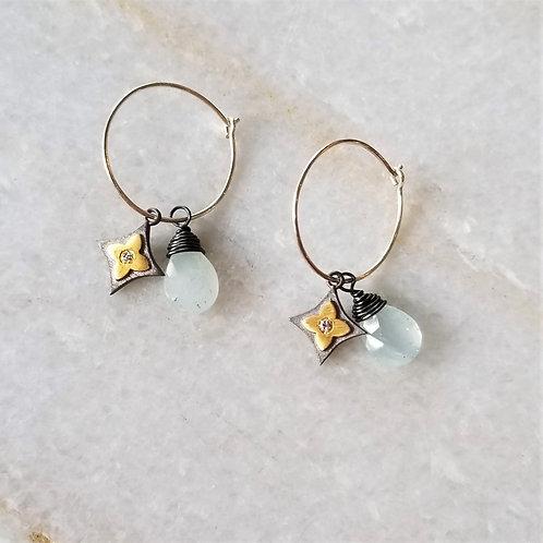 Luna Mar Aquamarine & Sterling Diamond Hoop Earrings