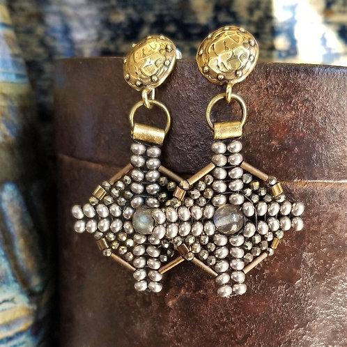 Joy of Wings Gold & Silver Beaded Post Earrings