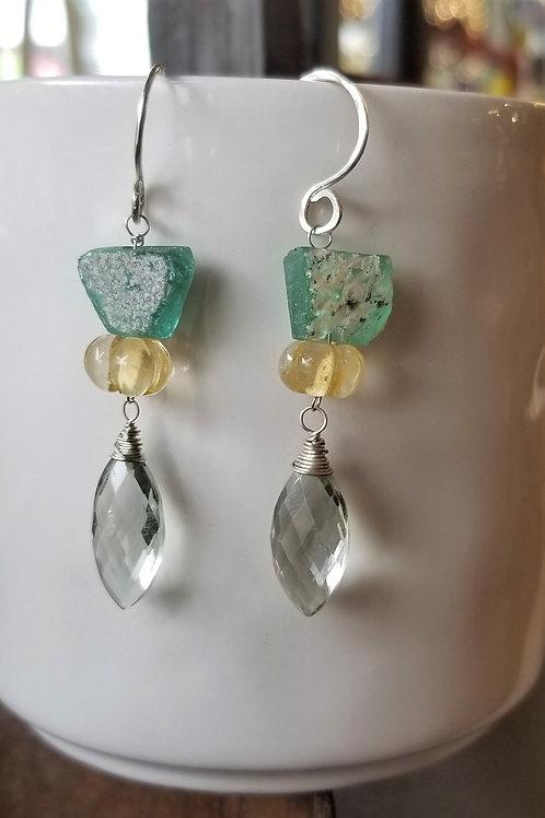 ObscurO Jewelry Roman Glass, Citrine & Amethyst Earrings
