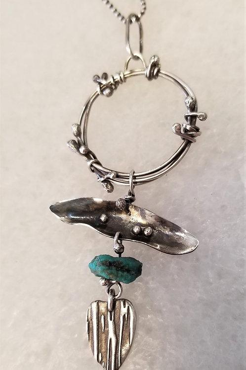 Texture & Tarnish Small Turquoise Talisman Necklace