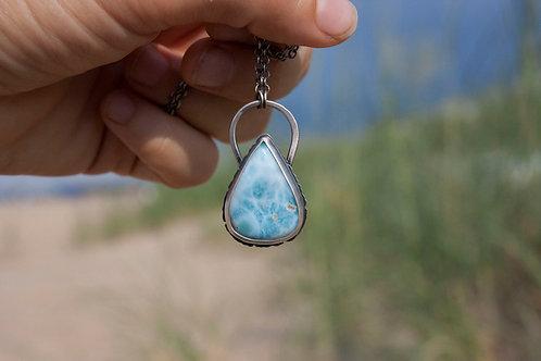 Feral Blue Larimar Teardrop Necklace