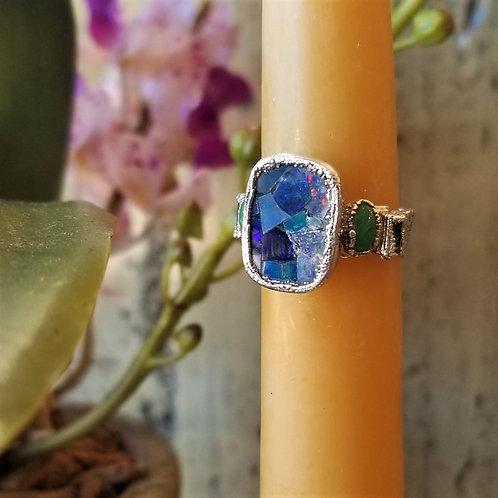 C & R Designs Opal Mosaic, Adventurine and Tourmaline Fine Silver Ring