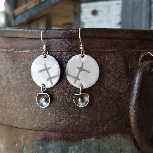 Texture & Tarnish Enamel and Lily Pad Charm Earrings