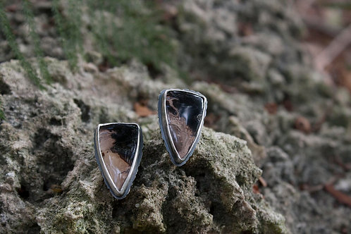 Feral Blue Fossil Palm Root Stud Earrings
