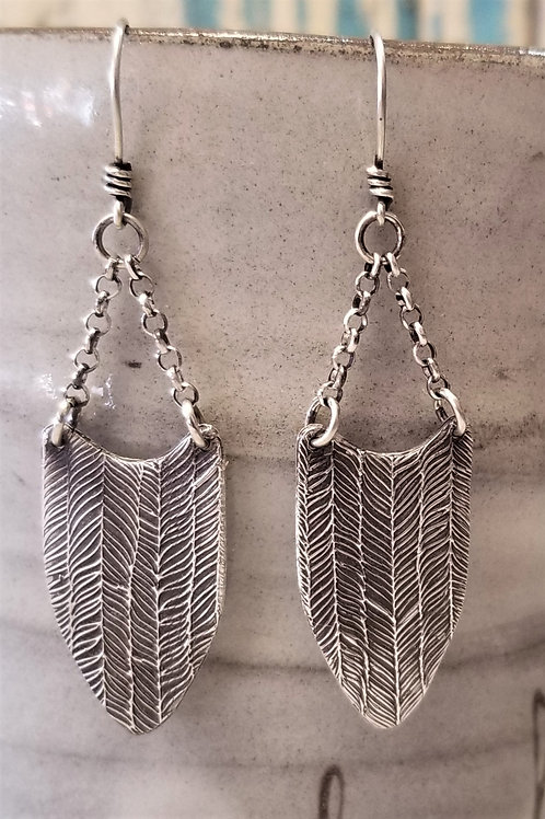 Texture & Tarnish Feather Shield Earrings