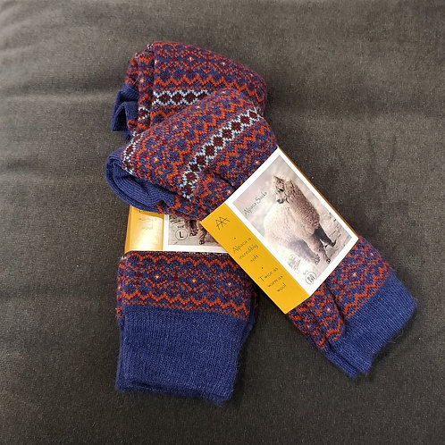 Tey Art Alhambra Striped Alpaca Socks- Blue