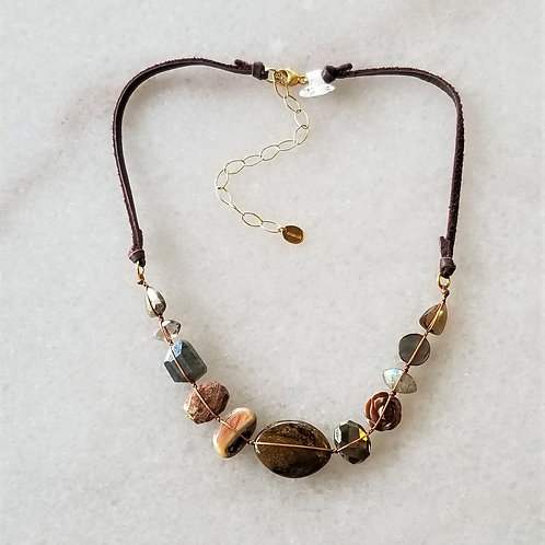 ChanLuu Multi Stone and Leather Necklace