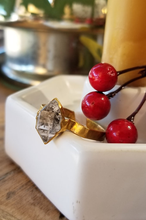 C & R Designs Herkimer Diamond Gold Plated Ring