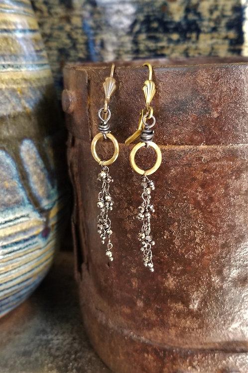 Joy of Wings Tiny Pyrite Cluster Earrings