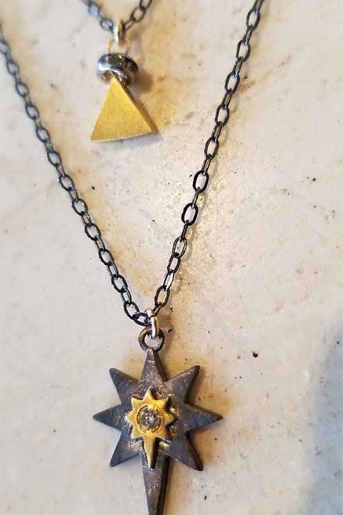 Luna Mar Pave Star and Triangle Double Necklace
