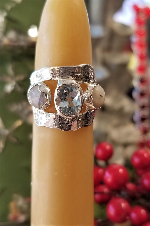 C & R Designs Blue Quartz and Moonstone Fine Silver Ring