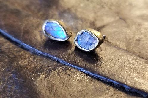 Emilie Shapiro Labradorite Brass Stud Earrings