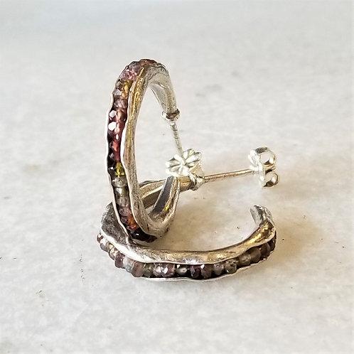 Austin Titus Studio Small Tundra Sapphire Hoop Earrings