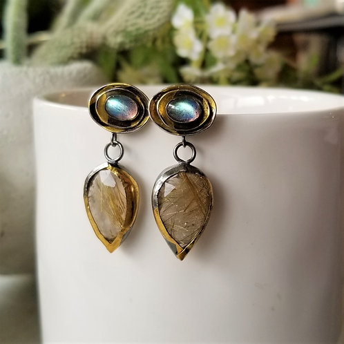 Austin Titus Studio Rutilated Quartz and Labradorite Earrings