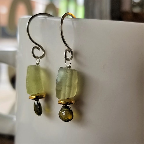 ObscurO Jewelry Roman Glass & Peridot Earrings