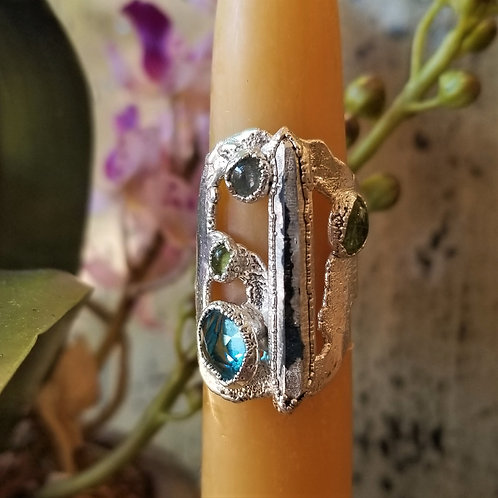 C & R Designs Carved Amethyst and Tourmaline Fine Silver Ring