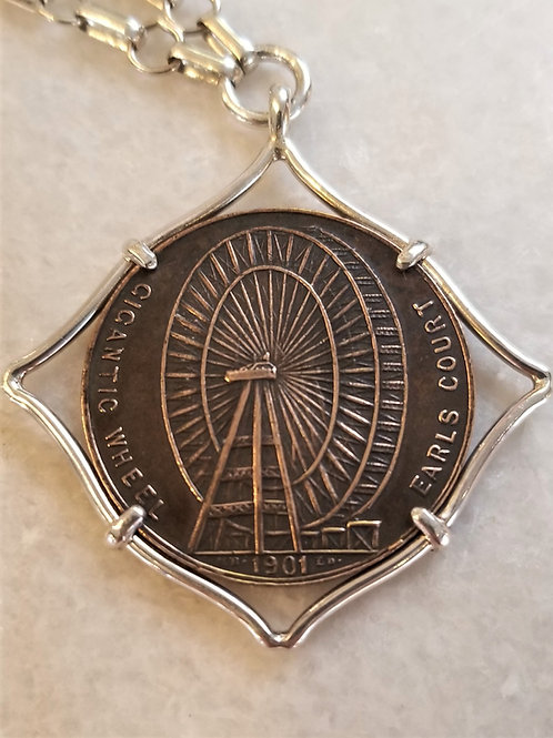 Karen Wright 1901 UK London Wheel Medallion Necklace