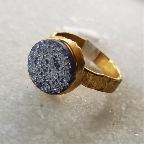 C&R Designs Gold Plated Drusy Ring