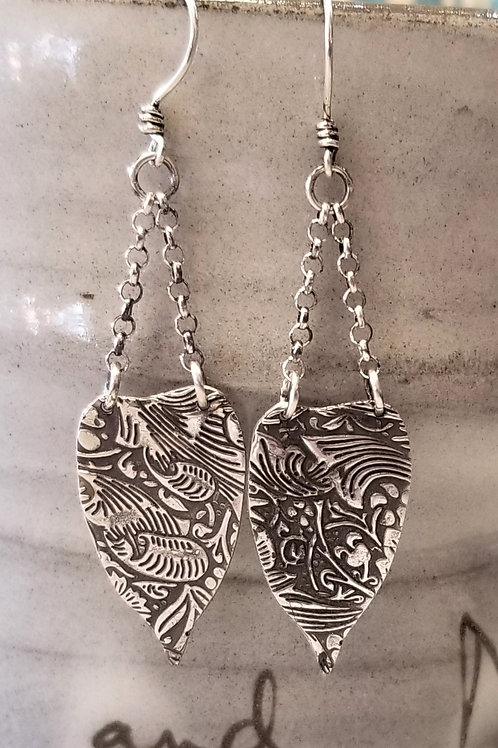 Texture & Tarnish Pothos Leaf and Chain Earrings