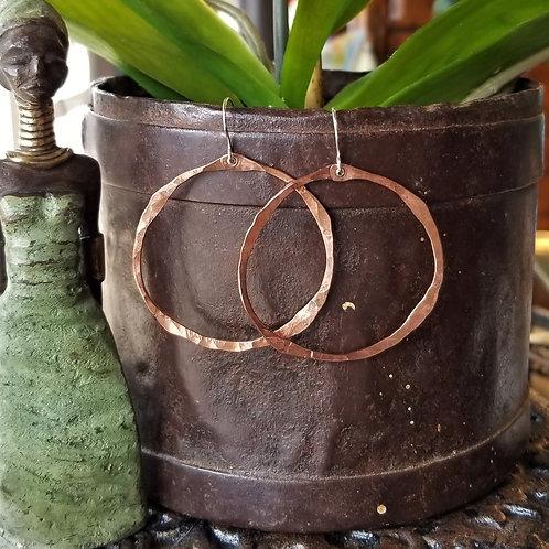 Boo Bug Jewelry Flattened Out Copper Hoop Earrings