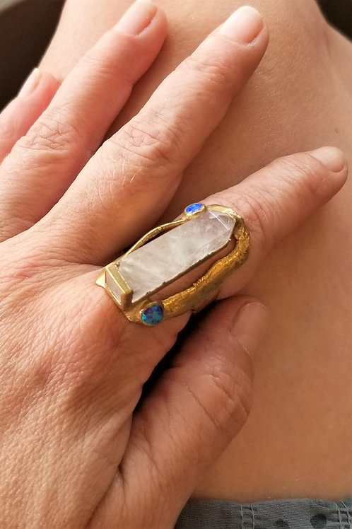 C&R Designs Quartz and Opal Ring